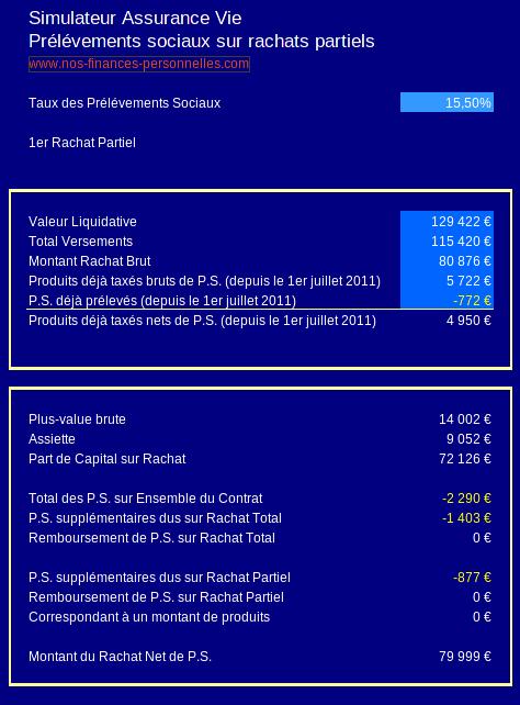 prélèvements sociaux sur rachat partiel sur assurance vie multisupports - simulateur nos-finances-personnelles.com