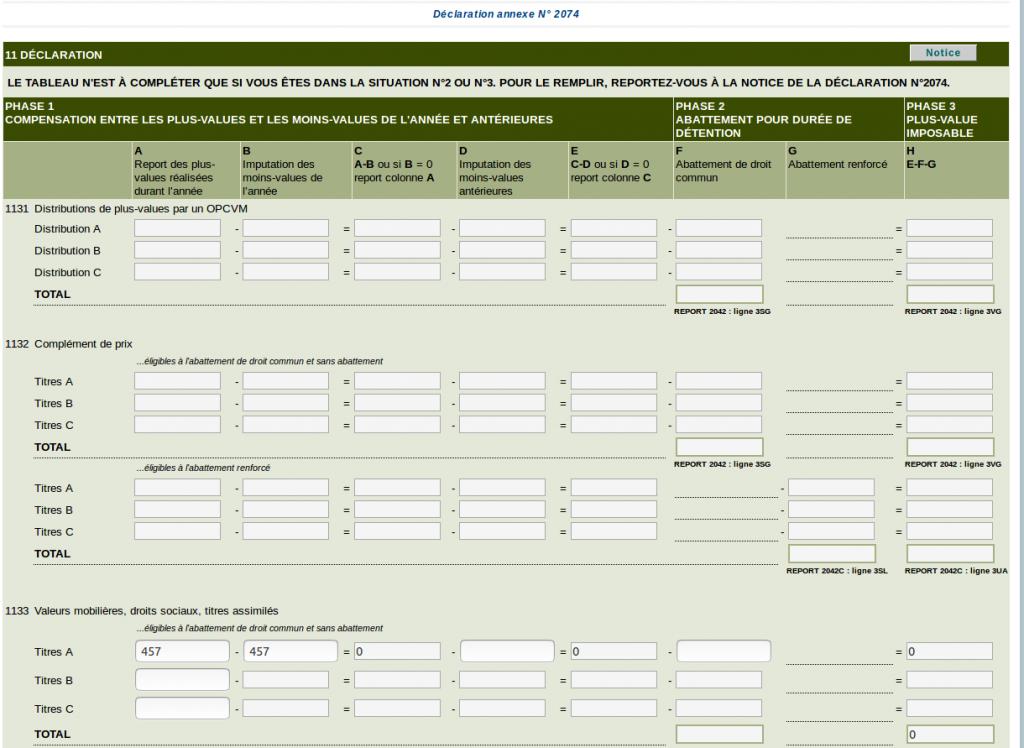 Déclaration des revenus - déclaration annexe 2074