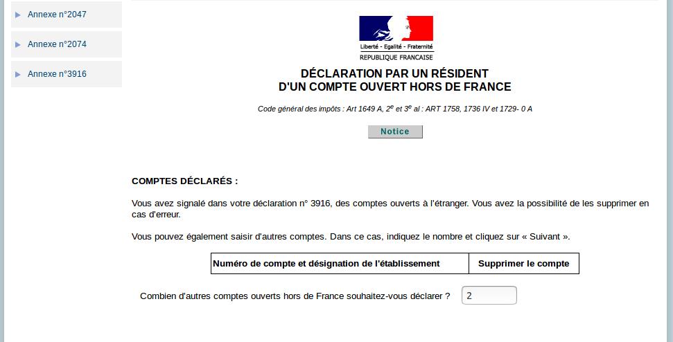 Déclaration des revenus - déclaration annexe 3916