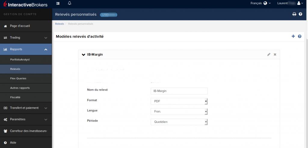 Relevé Interactive Brokers - générer un relevé personnalisé