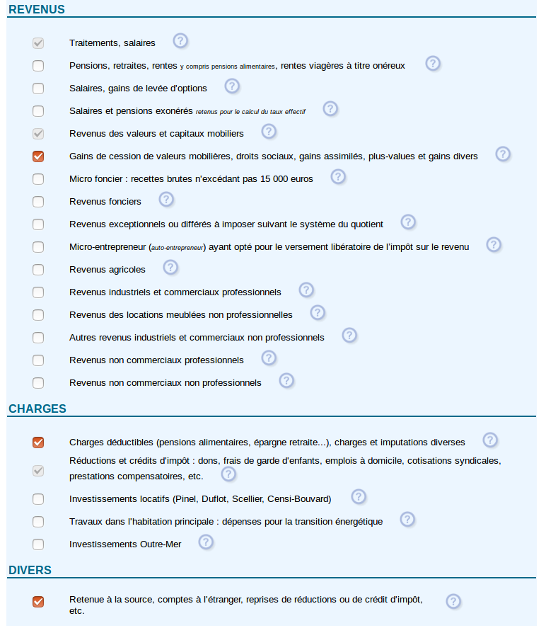 Déclaration des revenus - catégories de revenus